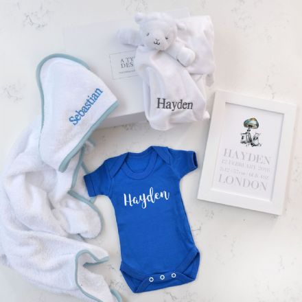 Personalised Towel, Comforter, Vest, Art Boy Hamper